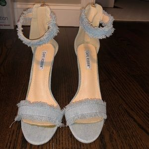 Cape Robbin Freya Blue Denim Ankle Strap Heel